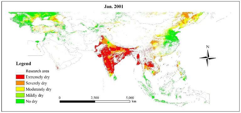 Drought levels in the cropland in Belt and Road area from 2001 to 2013