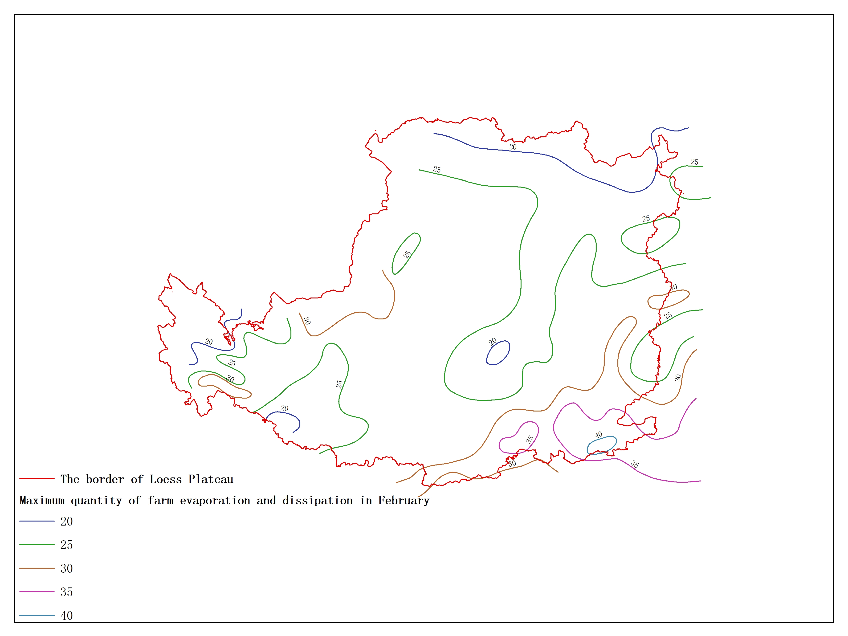 Agricultural climate resource atlas of Loess Plateau-Maximum quantity of farm evaporation and dissipation in February
