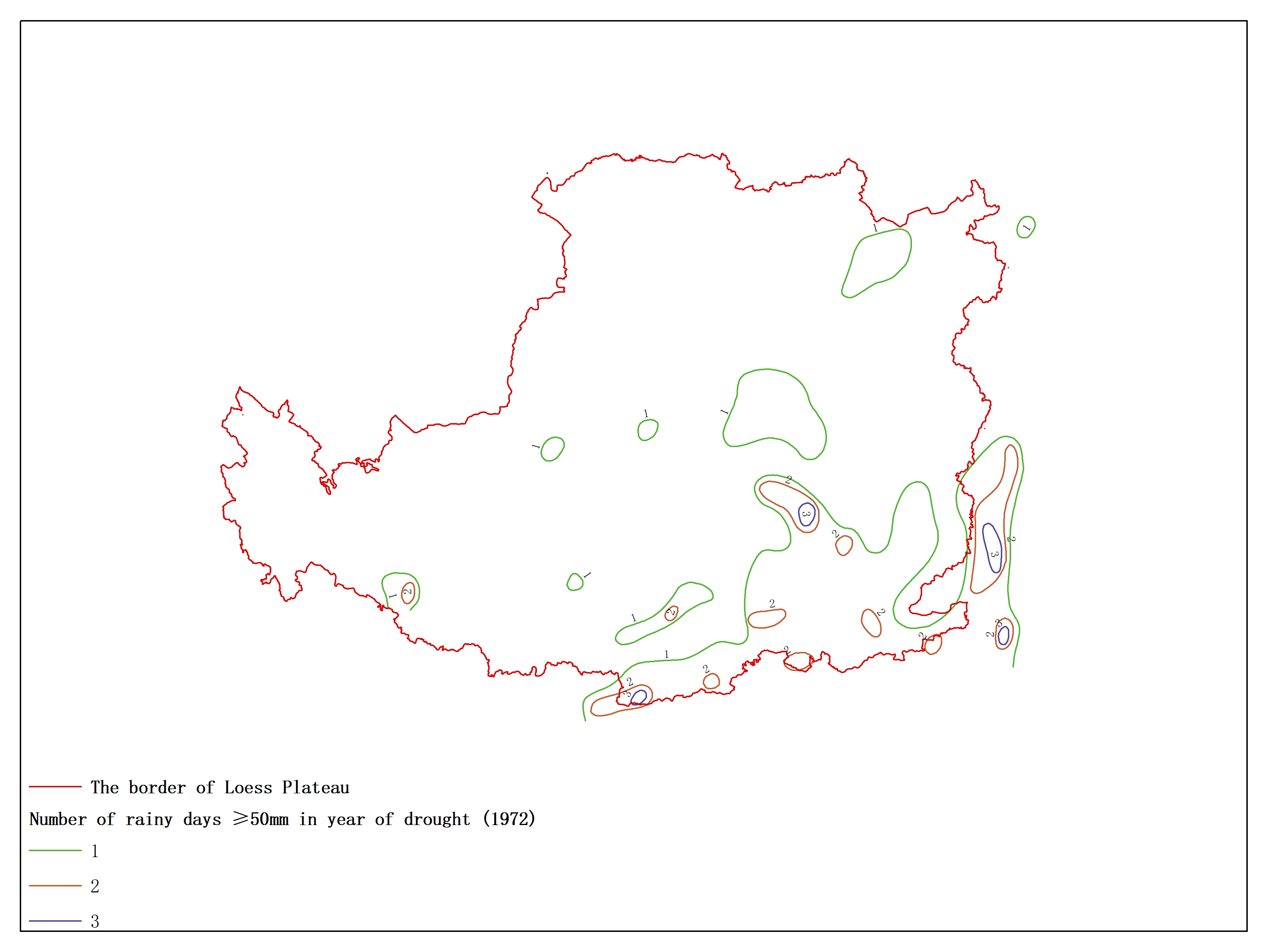 Agricultural climate resource atlas of Loess Plateau-Number of rainy days ≥50mm in year of drought (1972)